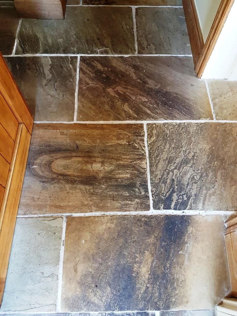 Multicoloured Sandstone Floor Before Cleaning East Keswick